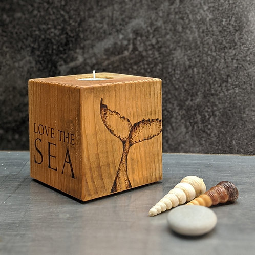Candle Cube Medium, Whale Tail 'Love The Sea'