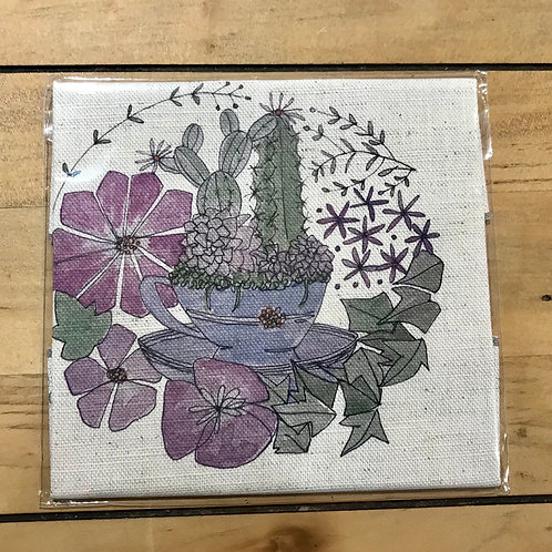 Teacup & Succulents Linen Embroidery Panel