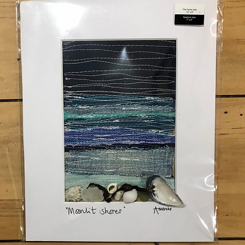 Moonlit Shores Embroidered Mounted Picture