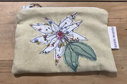 Floral Yellow Linen Purse