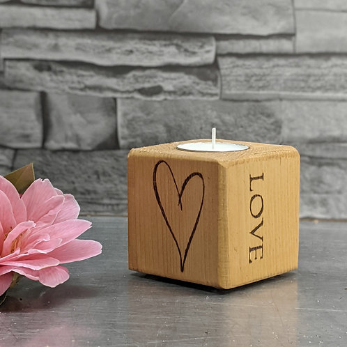 Candle Cube Small, Heart, 'Love'