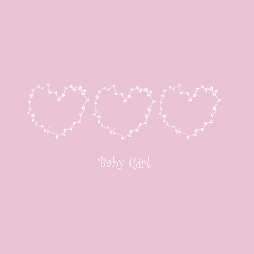 Baby Girl Hearts Card