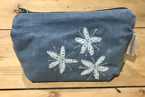 Floral Blue Cosmetic Purse