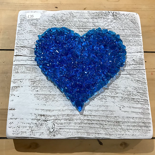 Mounted Blue Heart