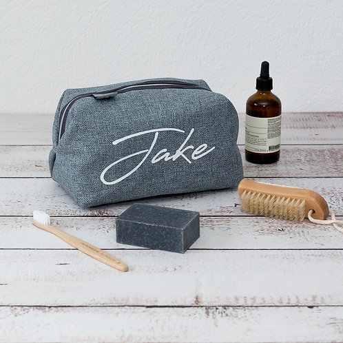 Personalised Wash Bag Eco Friendly Grey