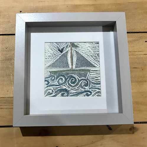 Embroidered Framed Boat
