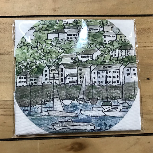 Kingswear Devon Linen Embroidery Panel
