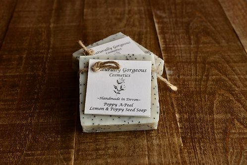 Poppy A-peel, Lemon and poppyseed hand made soap bar 100g