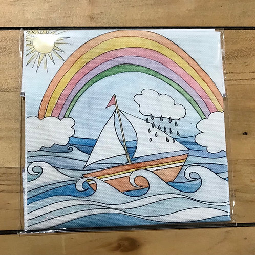 Rainbow Boat Linen Embroidery Panel