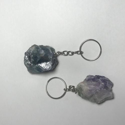 Rainbow Fluorite Crystal Keychain