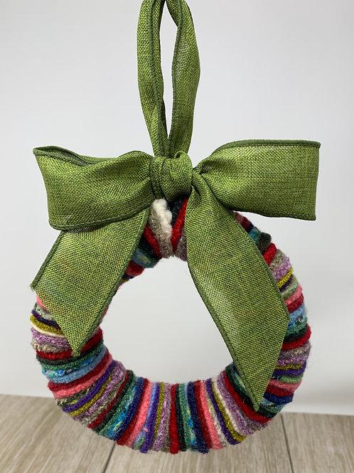 """6"""" Wreath Multi-Colored -Green Ribbon"""