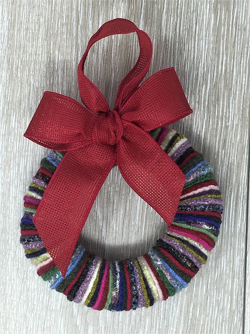 "6"" Wreath Multi-Colored - Red Ribbon"