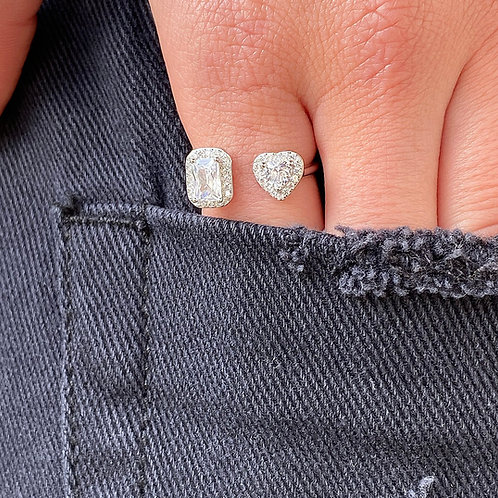 Heart & baguette ring