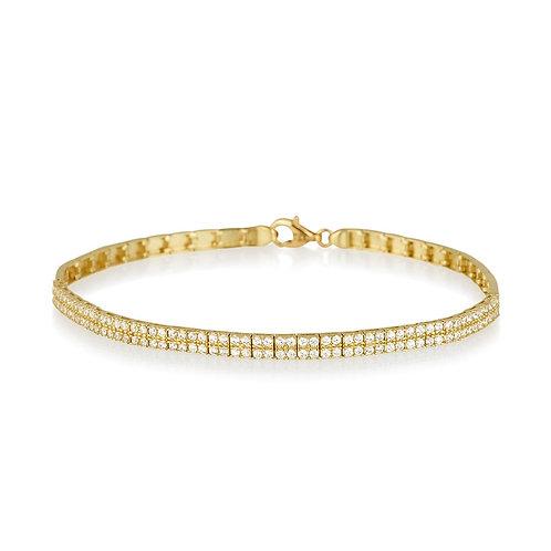 14k yellow gold double lines bracelet