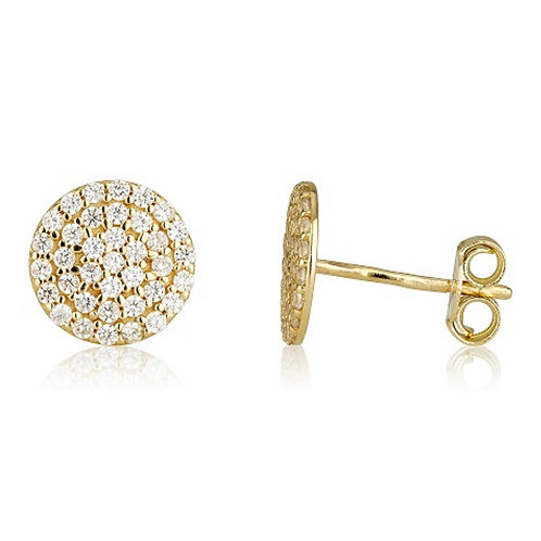 14k yellow gold zircons earrings