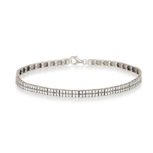 14k white gold double lines bracelet
