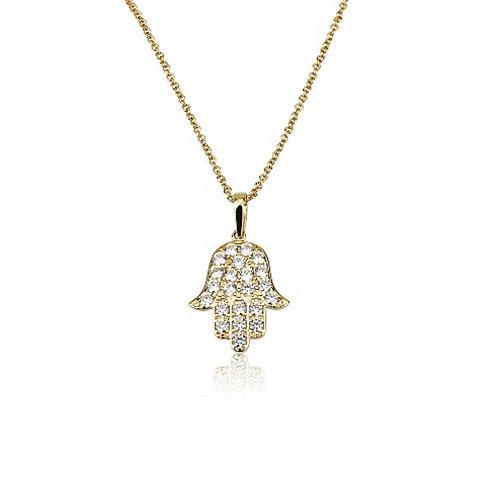 14k hamsa necklace