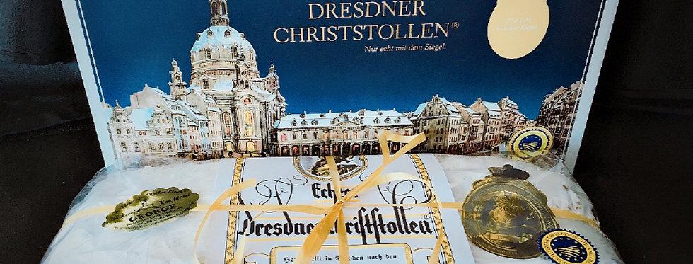 Echter Dresdner Christstollen 1000g in der Schmuckdose.