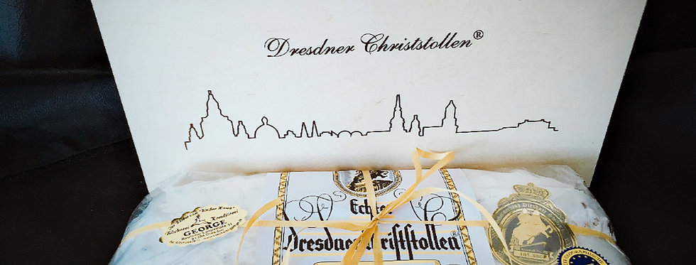 Echter Dresdner Christstollen 1000g in der Holzkiste