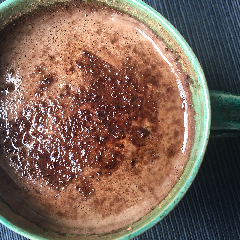 Close up of healthy hot chocolate drink