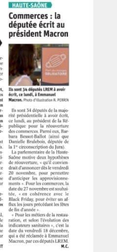 """Danielle BRULEBOIS réaffirme son soutien aux commerces """"non-essentiels"""""""