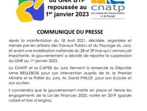 Report de la hausse su tarif sur le Gazole Non Routier (GNR)