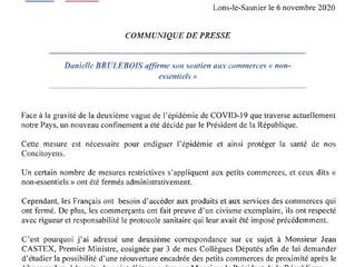 """Danielle BRULEBOIS affirme son soutien aux commerces """"non-essentiels"""""""