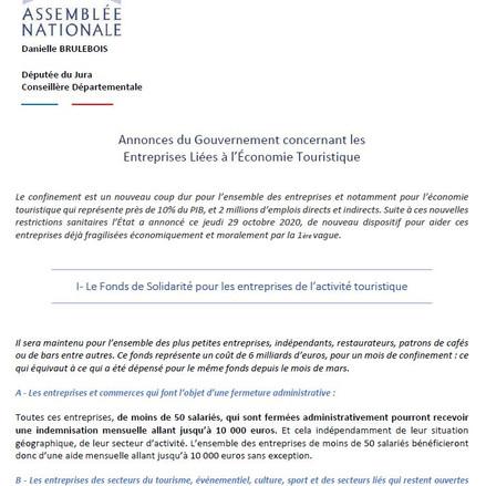 Annonces du Gouvernement concernant les Entreprises liées à l'Economie Touristique