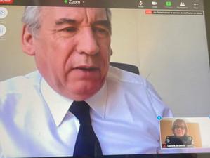 A l'Assemblée nationale en visioconférence avec le Haut Commissaire au plan François Bayrou.