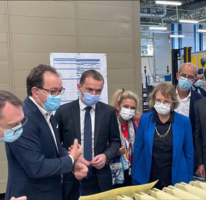 Avec le ministre des compte publics Olivier Dussopt, visite de l'entreprise SKF