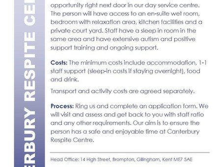 Respite and short breaks available from Canterbury.