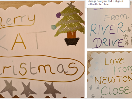 Wonderful Christmas cards made by our Newton Close and River Drive services....