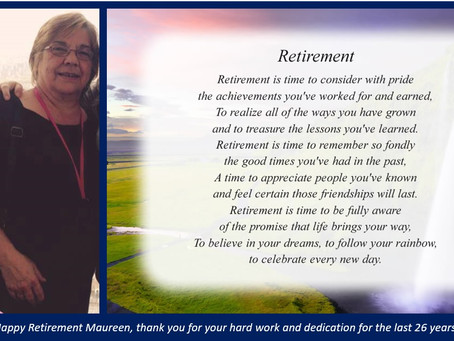 After 26 years!! We would all like to wish our lovely Maureen Seymour, a very happy retirement