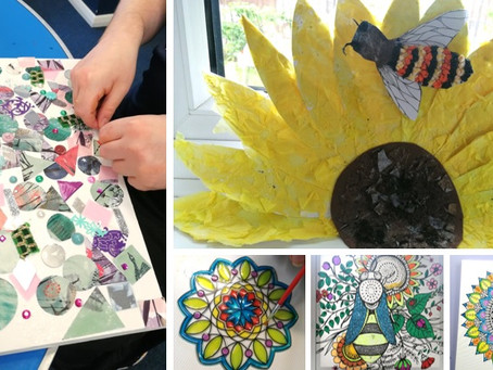 Flowers, bees, and glass painting at Newton Close....