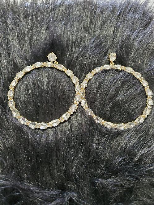 Evening Pierced Earrings-Peace Hoops