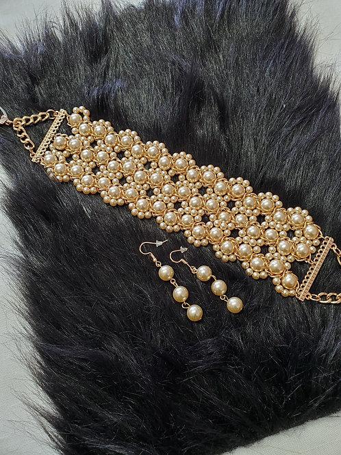 Pearl Choker & Earring Set
