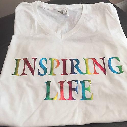 Inspiring Life Tshirt - White w/rainbow letters