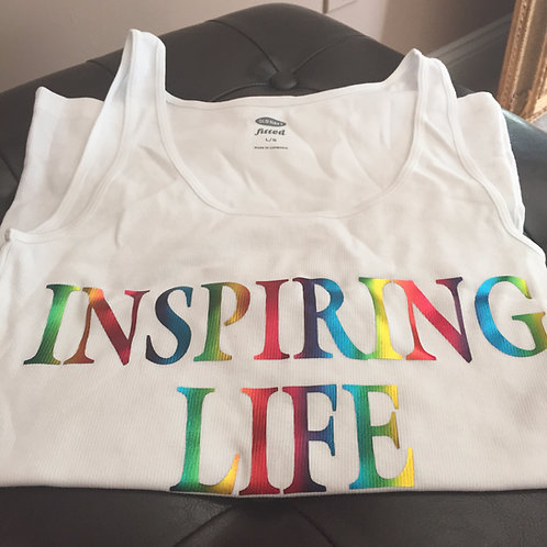 Inspiring Life Tank Top - White w/rainbow letters