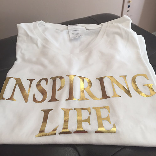 Inspiring Life Tshirt - White w/gold letters