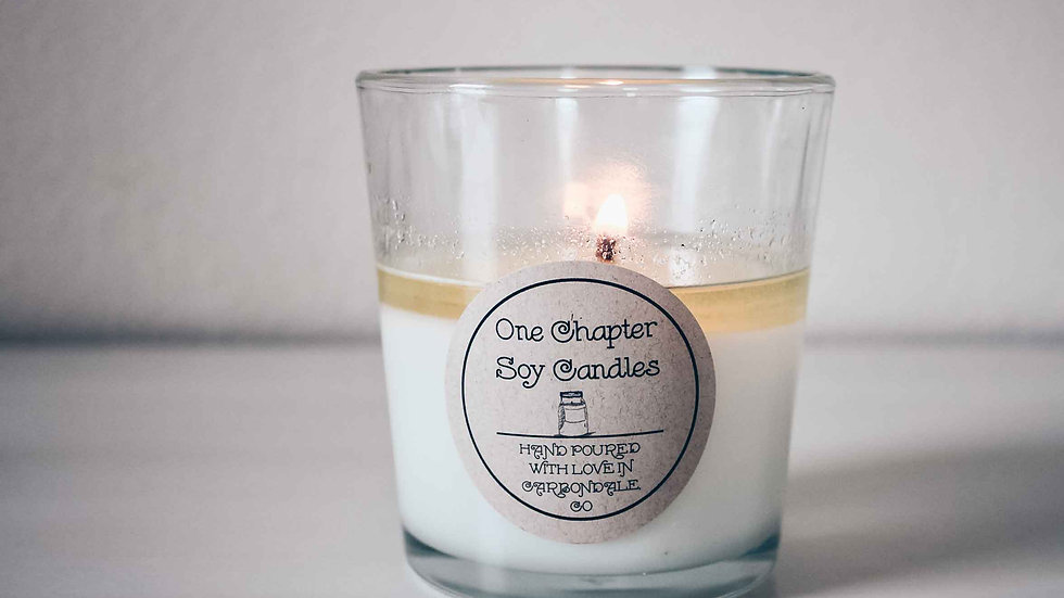 12 ounce soy wax candle in glass tumbler