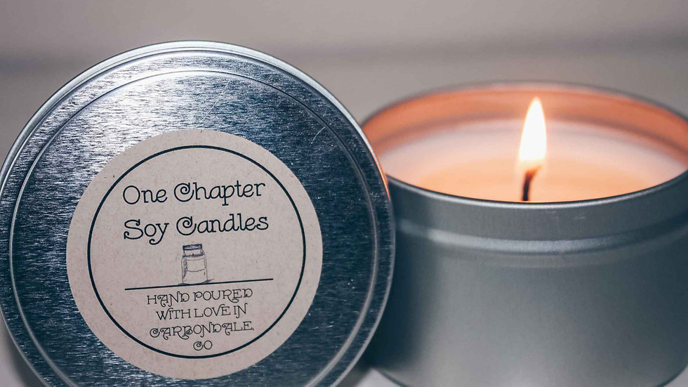 8 ounce soy wax candle in tin