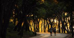 šetači na Marjanu predvećer