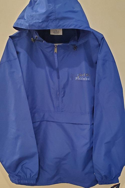 CHAMPION Royal Blue Nylon Pull Over Hooded Front Large & Side Pocket Zip Jacket