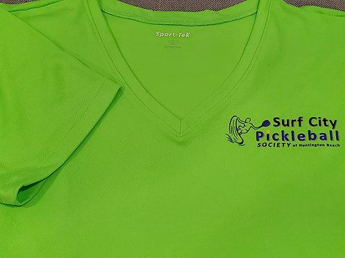 Neon Green V-Neck Women's Textured Short Sleeve