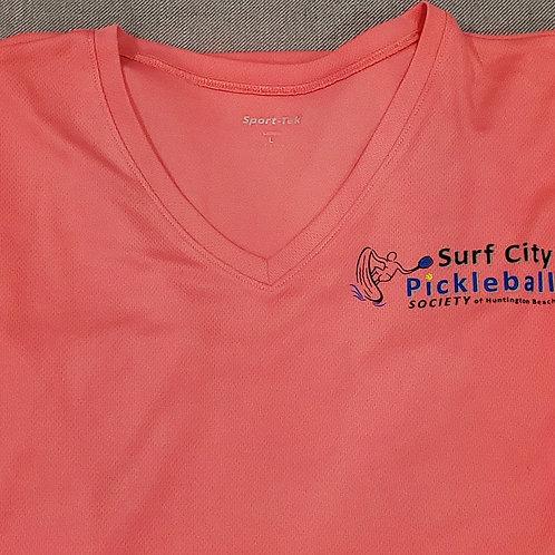 Coral Pink V-Neck Women's Textured Short Sleeve