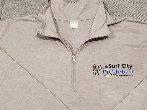 Light Grey Long Sleeve 3/4 Zip Shirt