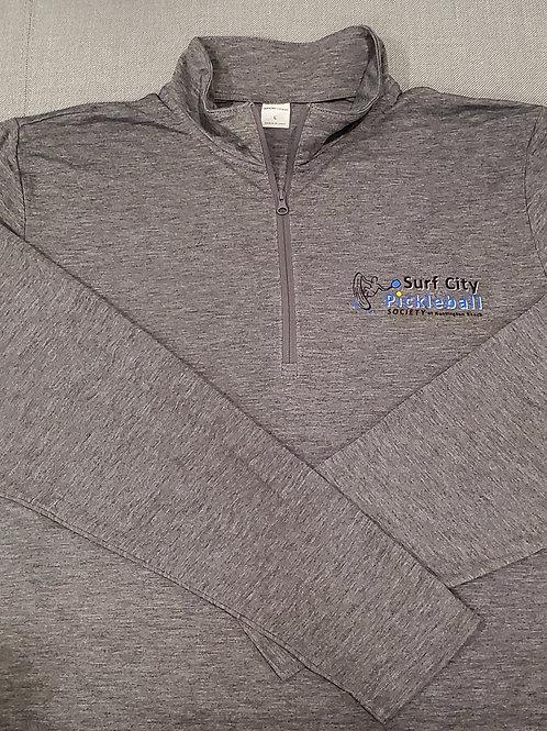 Heather Dark Grey Long Sleeve 3/4 Zip Shirt