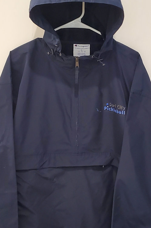 CHAMPION Navy Nylon Pull Over Hooded Front Large & Side Pocket Zip Jacket
