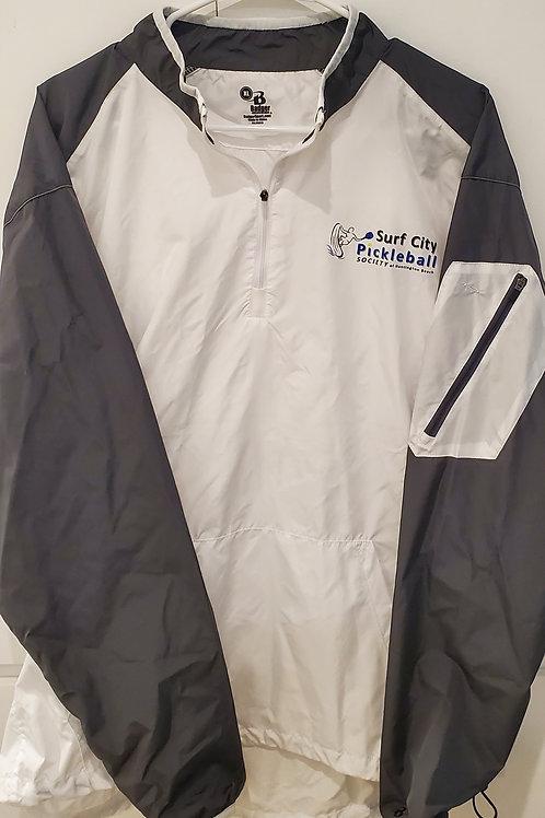 BADGER White & Grey Field Lightweight Pullover Jacket 3/4 Collar