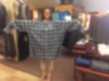 Theresa is modeling a size 6X flannel